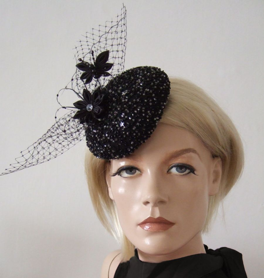 Black Beaded Sequin Butterfly Flower Kanzashi Button Silk Cocktail Party Hat Headpiece Fascinator